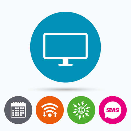 widescreen: Wifi, Sms and calendar icons. Computer widescreen monitor sign icon. Go to web globe. Illustration