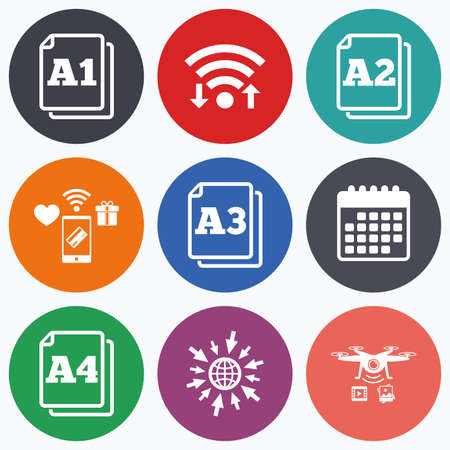 a2: Wifi, mobile payments and drones icons. Paper size standard icons. Document symbols. A1, A2, A3 and A4 page signs. Calendar symbol.