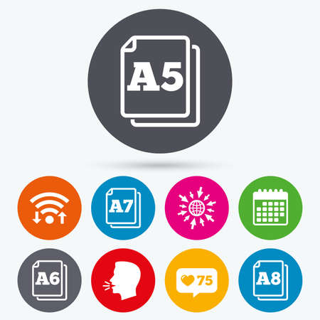 a6: Wifi, like counter and calendar icons. Paper size standard icons. Document symbols. A5, A6, A7 and A8 page signs. Human talk, go to web.