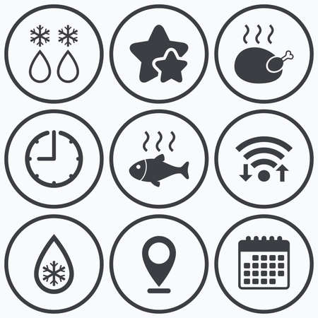 warm water fish: Clock, wifi and stars icons. Defrosting drop and snowflake icons. Hot fish and chicken signs. From ice to water symbol. Calendar symbol.