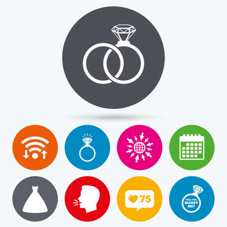 fiance: Wifi, like counter and calendar icons. Wedding dress icon. Bride and groom rings symbol. Wedding or engagement day ring shine with diamond sign. Will you marry me? Human talk, go to web.