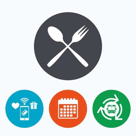 teaspoon: Eat sign icon. Cutlery symbol. Dessert fork and teaspoon crosswise. Mobile payments, calendar and wifi icons. Bus shuttle. Illustration