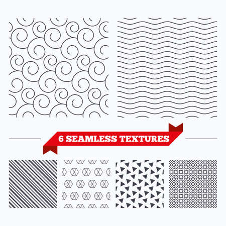 texturing: Diagonal lines, waves and geometry design. Floral ornate texture. Stripped geometric seamless pattern. Modern repeating stylish texture. Material patterns. Illustration