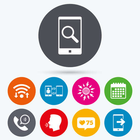 Wifi, like counter and calendar icons. Phone icons. Smartphone with speech bubble sign. Call center support symbol. Synchronization symbol. Human talk, go to web. Illustration