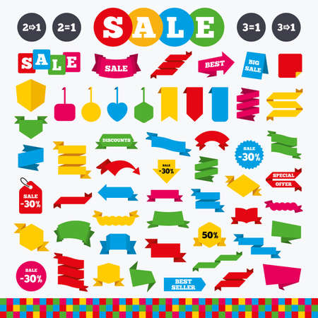 pay for: Banners, web stickers and labels. Special offer icons. Take two pay for one sign symbols. Profit at saving. Price tags set. Illustration