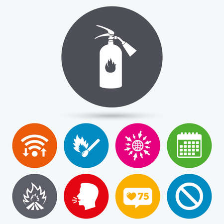 flame like: Wifi, like counter and calendar icons. Fire flame icons. Fire extinguisher sign. Prohibition stop symbol. Burning matchstick. Human talk, go to web. Illustration