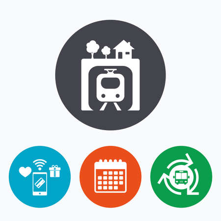 metro train: Underground sign icon. Metro train symbol. Mobile payments, calendar and wifi icons. Bus shuttle. Illustration