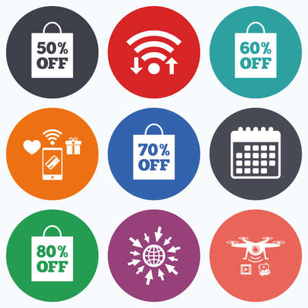 60 70: Wifi, mobile payments and drones icons. Sale bag tag icons. Discount special offer symbols. 50%, 60%, 70% and 80% percent off signs. Calendar symbol. Illustration