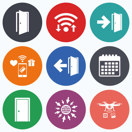 fire exit: Wifi, mobile payments and drones icons. Doors icons. Emergency exit with arrow symbols. Fire exit signs. Calendar symbol.