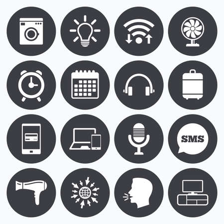 ventilator: Wifi, calendar and mobile payments. Home appliances, device icons. Ventilator sign. Hairdryer, washing machine and lamp symbols. Sms speech bubble, go to web symbols.
