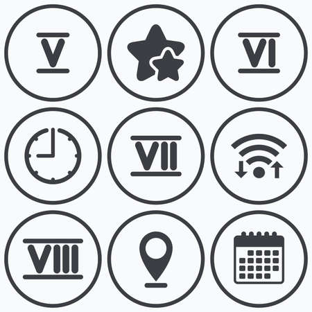 ancient rome: Clock, wifi and stars icons. Roman numeral icons. 5, 6, 7 and 8 digit characters. Ancient Rome numeric system. Calendar symbol.
