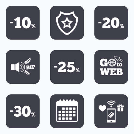 20 to 25: Mobile payments, wifi and calendar icons. Sale discount icons. Special offer price signs. 10, 20, 25 and 30 percent off reduction symbols. Go to web symbol.
