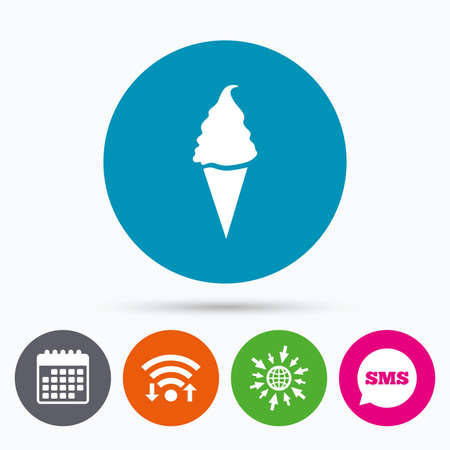 calendar icon: Wifi, Sms and calendar icons. Ice Cream in waffle cone sign icon. Sweet symbol. Go to web globe.
