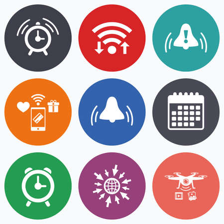 rang: Wifi, mobile payments and drones icons. Alarm clock icons. Wake up bell signs symbols. Exclamation mark. Calendar symbol. Illustration