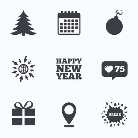 new year counter: Calendar, like counter and go to web icons. Happy new year icon. Christmas tree and gift box sign symbols. Location pointer.