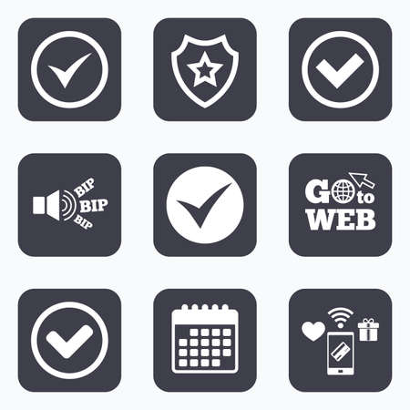 checkbox: Mobile payments, wifi and calendar icons. Check icons. Checkbox confirm circle sign symbols. Go to web symbol. Illustration