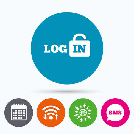 lock up: Wifi, Sms and calendar icons. Login sign icon. Sign in symbol. Lock. Go to web globe. Illustration