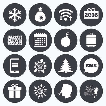 salut: Wifi, calendar and mobile payments. Christmas, new year icons. Gift box, fireworks and snowflake signs. Santa bag, salut and decoration ball symbols. Sms speech bubble, go to web symbols. Illustration