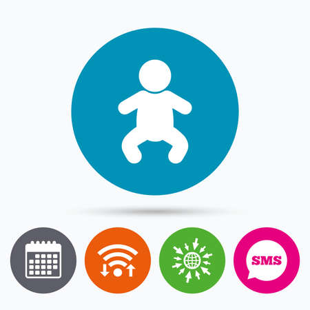crawlers: Wifi, Sms and calendar icons. Baby infant sign icon. Toddler boy in pajamas or crawlers body symbol. Child WC toilet. Go to web globe. Illustration