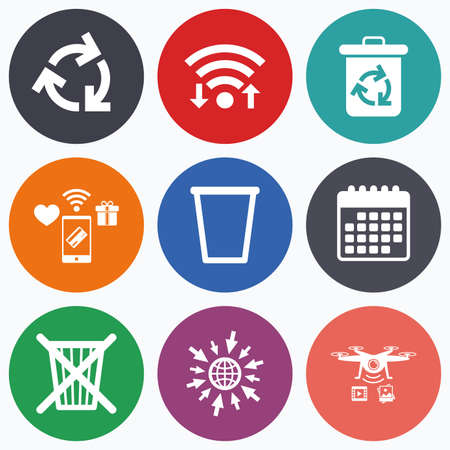 utilization: Wifi, mobile payments and drones icons. Recycle bin icons. Reuse or reduce symbols. Trash can and recycling signs. Calendar symbol.