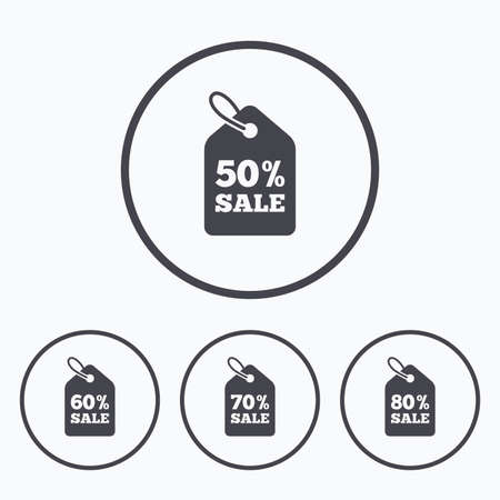 60 70: Sale price tag icons. Discount special offer symbols. 50%, 60%, 70% and 80% percent sale signs. Icons in circles. Illustration