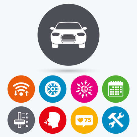 counter service: Wifi, like counter and calendar icons. Transport icons. Car tachometer and automatic transmission symbols. Repair service tool with wheel sign. Human talk, go to web. Illustration