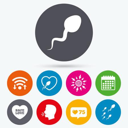 Wifi, wie Zähler und Kalender-Icons. Spermeikonen. Befruchtungs- oder Besamungszeichen. Sichere Liebe Herzsymbol. Menschliches Gespräch, gehe ins Web. Vektorgrafik