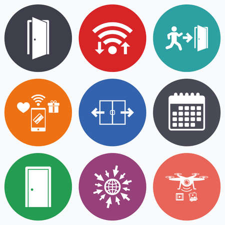 fire exit: Wifi, mobile payments and drones icons. Automatic door icon. Emergency exit with human figure and arrow symbols. Fire exit signs. Calendar symbol. Illustration