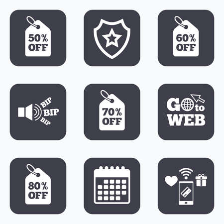 60 70: Mobile payments, wifi and calendar icons. Sale price tag icons. Discount special offer symbols. 50%, 60%, 70% and 80% percent off signs. Go to web symbol. Illustration