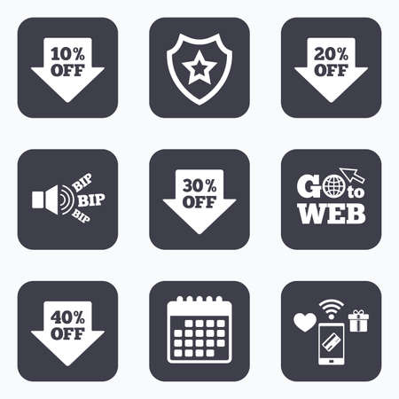 20 30: Mobile payments, wifi and calendar icons. Sale arrow tag icons. Discount special offer symbols. 10%, 20%, 30% and 40% percent off signs. Go to web symbol. Illustration