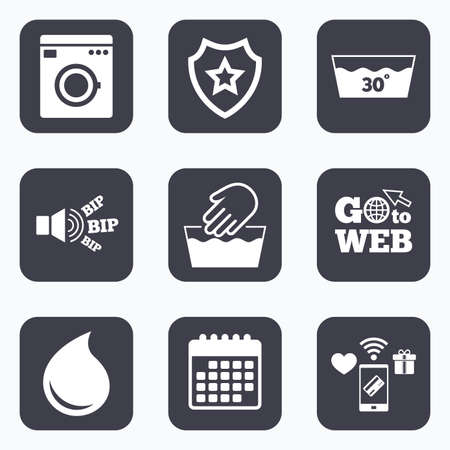 washhouse: Mobile payments, wifi and calendar icons. Hand wash icon. Machine washable at 30 degrees symbols. Laundry washhouse and water drop signs. Go to web symbol.