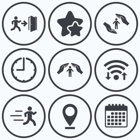 emergency exit sign icon: Clock, wifi and stars icons. Life insurance hands protection icon. Human running symbol. Emergency exit with arrow sign. Calendar symbol. Illustration