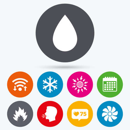 water supply: Wifi, like counter and calendar icons. HVAC icons. Heating, ventilating and air conditioning symbols. Water supply. Climate control technology signs. Human talk, go to web.