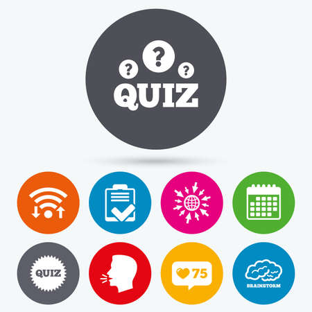 feedback form: Wifi, like counter and calendar icons. Quiz icons. Brainstorm or human think. Checklist symbol. Survey poll or questionnaire feedback form. Questions and answers game sign. Human talk, go to web.