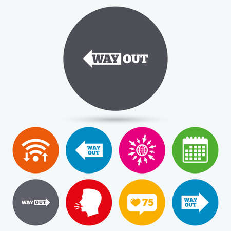 way out: Wifi, like counter and calendar icons. Way out icons. Left and right arrows symbols. Direction signs in the subway. Human talk, go to web.