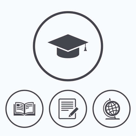 geography: Pencil with document and open book icons. Graduation cap and geography globe symbols. Learn signs. Icons in circles. Illustration