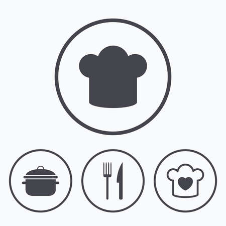 stew: Chief hat and cooking pan icons. Fork and knife signs. Boil or stew food symbols. Icons in circles.