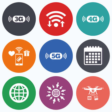 3g: Wifi, mobile payments and drones icons. Mobile telecommunications icons. 3G, 4G and 5G technology symbols. World globe sign. Calendar symbol.
