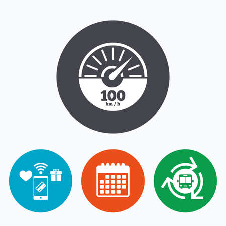 km: Tachometer sign icon. 100 km per hour revolution-counter symbol. Car speedometer performance. Mobile payments, calendar and wifi icons. Bus shuttle.