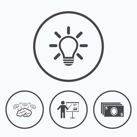 standing lamp: Presentation billboard, brainstorm icons. Cash money and lamp idea signs. Man standing with pointer. Scheme and Diagram symbol. Icons in circles. Illustration