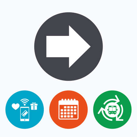 next button: Arrow sign icon. Next button. Navigation symbol. Mobile payments, calendar and wifi icons. Bus shuttle.
