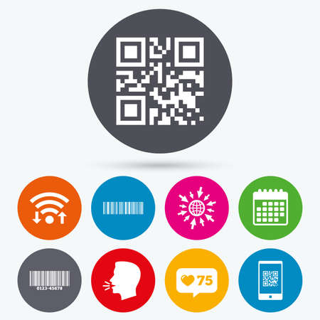 Wifi, like counter and calendar icons. Bar and Qr code icons. Scan barcode in smartphone symbols. Human talk, go to web. Illustration