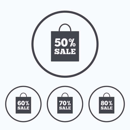 60 70: Sale bag tag icons. Discount special offer symbols. 50%, 60%, 70% and 80% percent sale signs. Icons in circles.