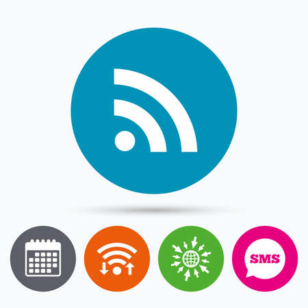 web feed: Wifi, Sms and calendar icons. RSS sign icon. RSS feed symbol. Go to web globe.