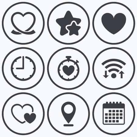 palpitation: Clock, wifi and stars icons. Heart ribbon icon. Timer stopwatch symbol. Love and Heartbeat palpitation signs. Calendar symbol. Illustration