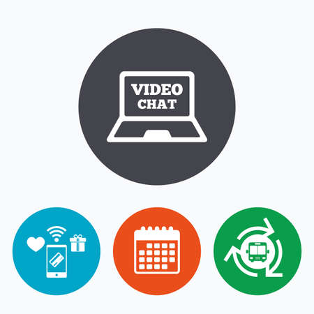 video chat: Video chat laptop sign icon. Web communication symbol. Website video talk. Mobile payments, calendar and wifi icons. Bus shuttle.