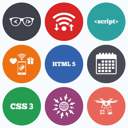 markup: Wifi, mobile payments and drones icons. Programmer coder glasses icon. HTML5 markup language and CSS3 cascading style sheets sign symbols. Calendar symbol.