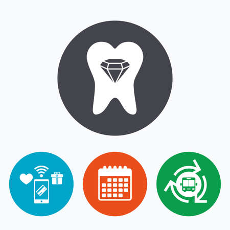 prestige: Tooth crystal icon. Tooth jewellery sign. Dental prestige symbol. Mobile payments, calendar and wifi icons. Bus shuttle.