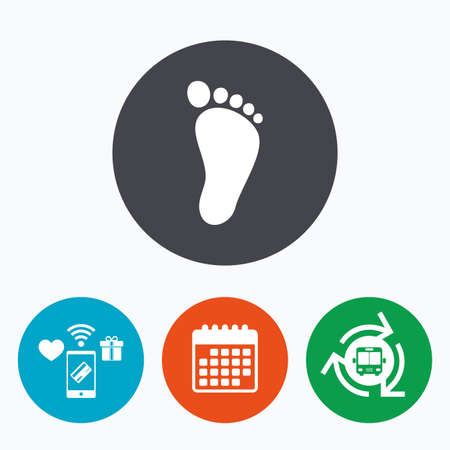 barefoot walking: Child footprint sign icon. Toddler barefoot symbol. Mobile payments, calendar and wifi icons. Bus shuttle.