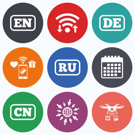 en: Wifi, mobile payments and drones icons. Language icons. EN, DE, RU and CN translation symbols. English, German, Russian and Chinese languages. Calendar symbol.
